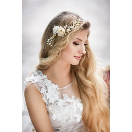 Gold flower hair vine for bride