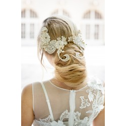 Lace bride fascinator