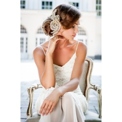 Wedding gold lace head piece
