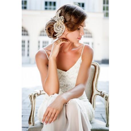 Wedding gold lace head piece