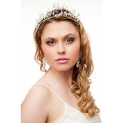 Pearls and crystals handcrafted bridal tiara