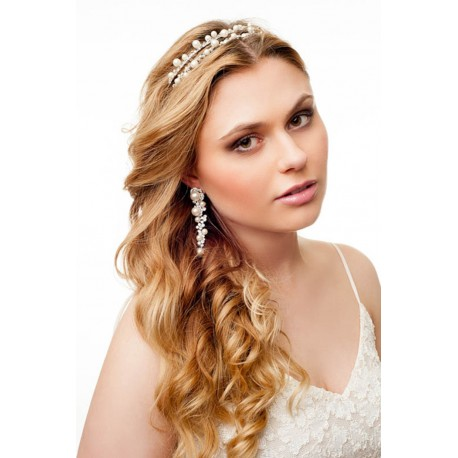 Pearls and crystals handcrafted bridal headband