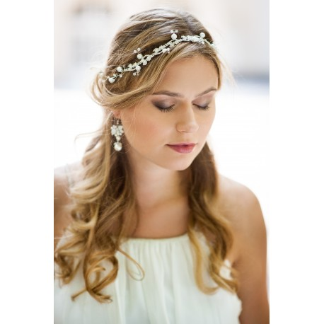 White bridal headband ribbon