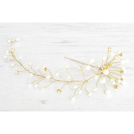 Bridal gold pearls hairpins
