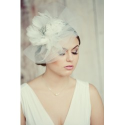 Royal crystal and feather fascinator