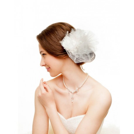 White tulle wedding hair accessory