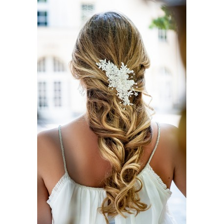 Handmade bridal lace hair piece