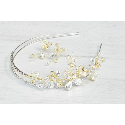 Wedding hair crown and earrings set