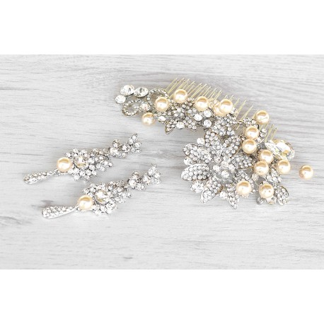Champagne Pearls And Crystals Jewelry Set Handmade Jewelry