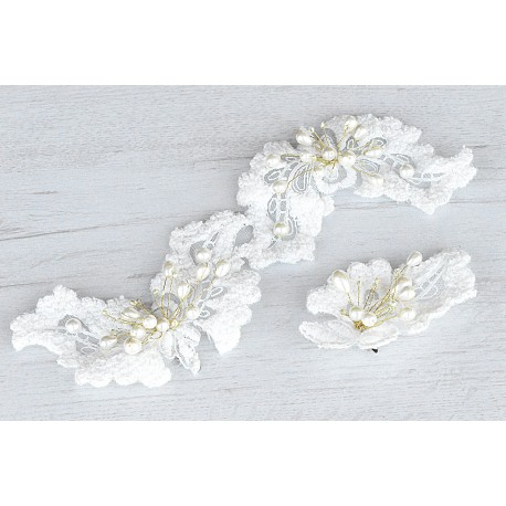 Wedding lace head piece and groom lace flower pin set