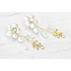 Bridal gold tone earrings