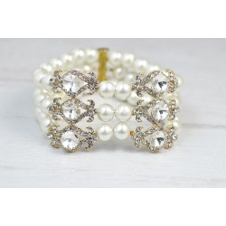 Bridal cuff gold crystal bracelet
