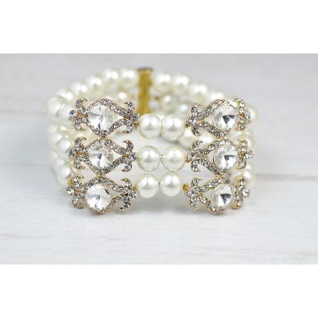Bridal cuff gold crystal bracelet
