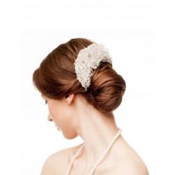Silver crochet hair comb