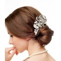 Pearls and crystals hair comb