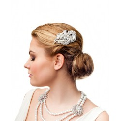 Silver crystal and pearls bridal hair comb