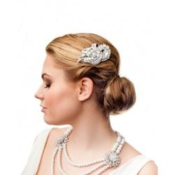 Silver crystal and pearls bridal hair comb