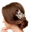 Crystals and pearls encrusted wedding hair comb