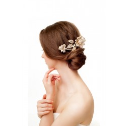 Gold flower leaf hair comb