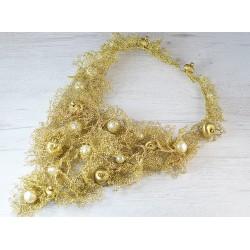 Unique gold wire wedding necklace collar