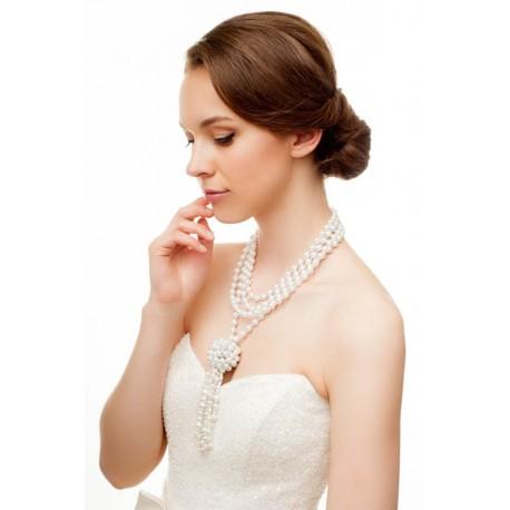 Bridal backdrop pearls necklace