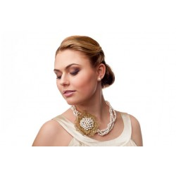 Bridal freshwater three strand pearl necklace